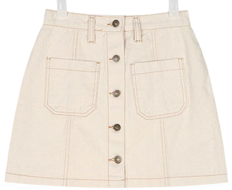 stitch button mini skirt (s, m)