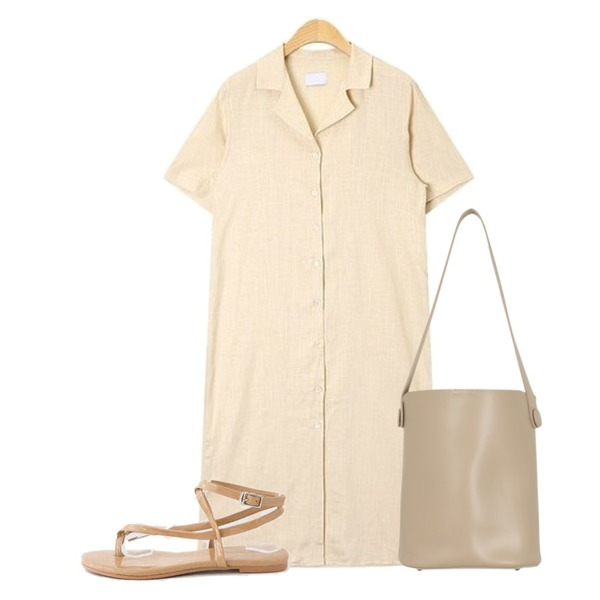 AIN slim v-neck linen ops,LOVELY SHOES 다우트 스트랩 샌들 1cm,From Beginning Snap button pouch bag_H (size : one)등을 매치한 코디