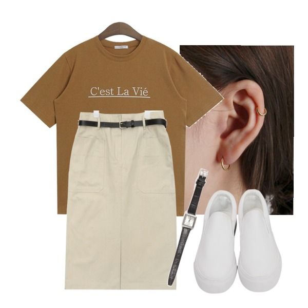 daily monday Silver essential gold ring earring(silver 925),AIN belt set cotton midi skirt (2 colors),TODAY ME 챠밍 티셔츠등을 매치한 코디