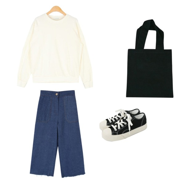 biznshoe Wide highwaist jean (2color),BANHARU 5 color daily cotton bag,AIN diffrent casual mtm등을 매치한 코디