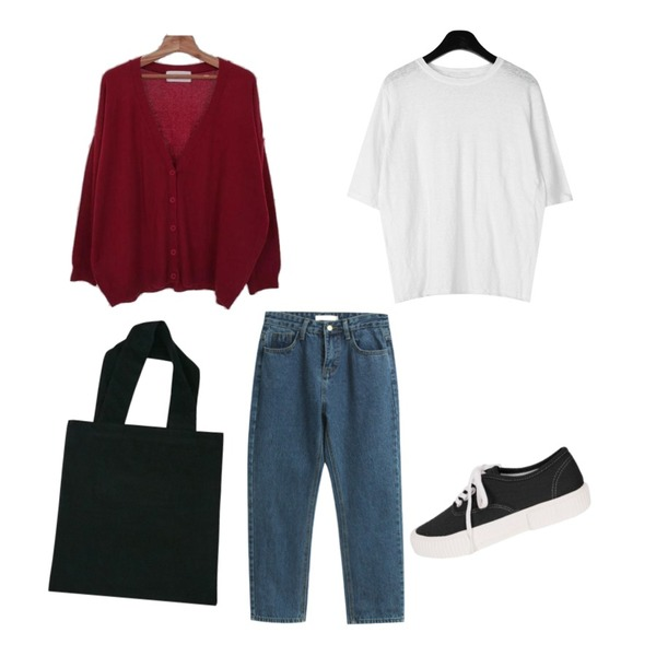 Zemma World Mayo-울가디건 (울80%)[size:44~66 / 4color],TODAY ME 브론드 팬츠,daily monday Linen loose fit sleeve tee등을 매치한 코디