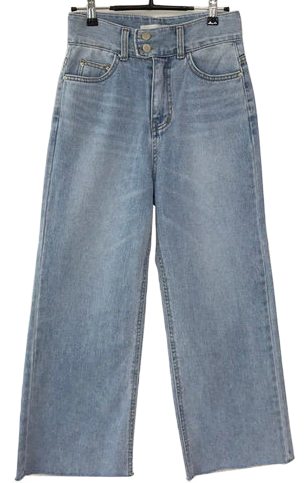 Two-button wide denim pants