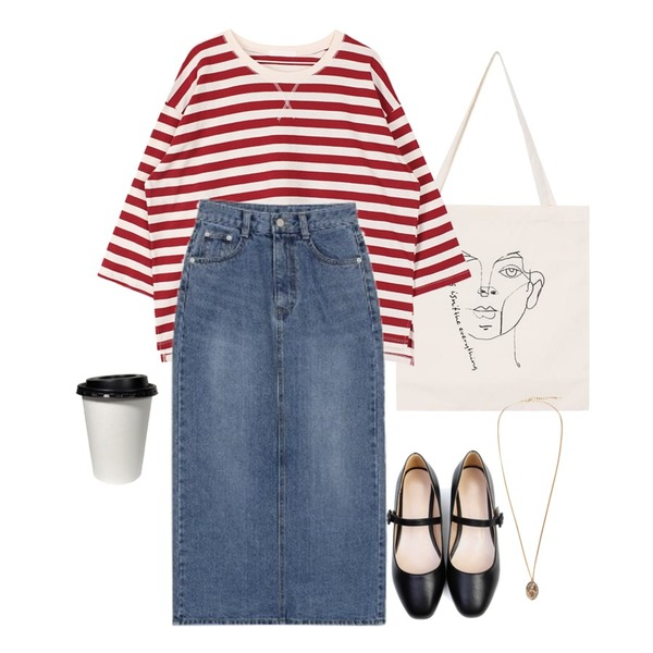 biznshoe Boxy stripe tee (3color),biznshoe Drawing eco bag,biznshoe Denim long skirt (2color)등을 매치한 코디