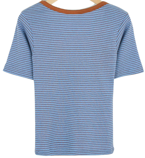 Two-way striped short-sleeved tee