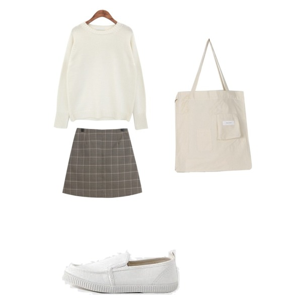 common unique [TOP] CANDY COLOR KNIT,LOVELY SHOES [커플슈즈] 로키튼 슬립온 2cm,TODAY ME 레뉴 체크 스커트등을 매치한 코디