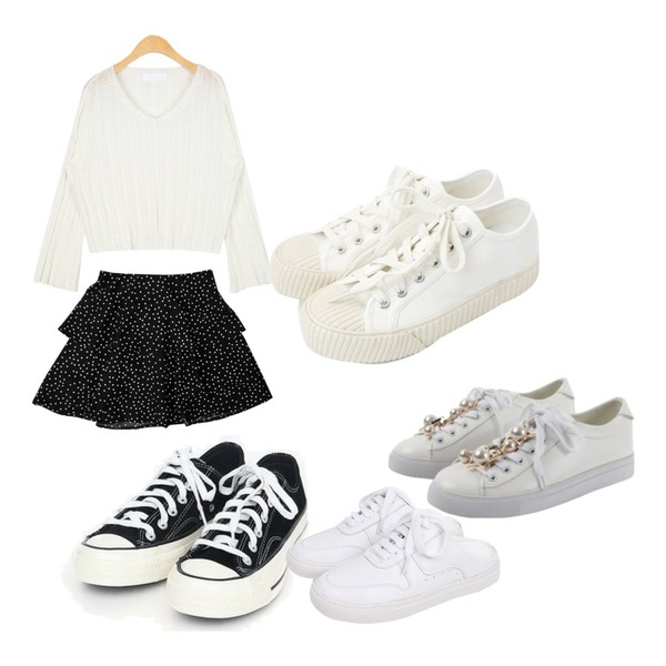 daily monday Simple every day sneakers,MOMORIT 도트 캉캉 쉬폰 미니스커트 2color,AIN maple see-through knit등을 매치한 코디