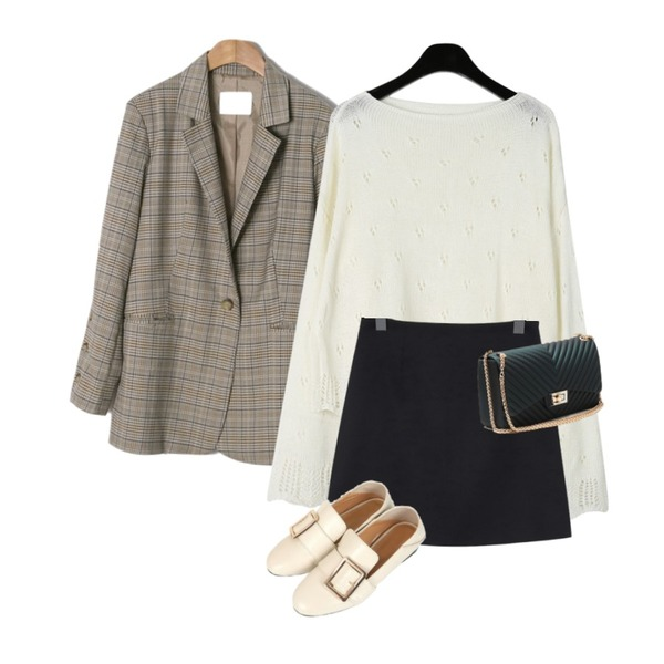 From Beginning Usually basic mini skirt_K (size : S,M),daily monday Romantic mood punching knit,ENVYLOOK [22XX]단추트임체크자켓등을 매치한 코디