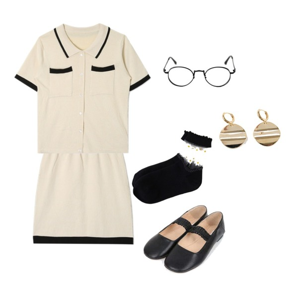 openthedoor collar line button knit set (2 color),openthedoor collar line button knit set (2 color),AIN lovely banding maryjane flat (230-250)등을 매치한 코디