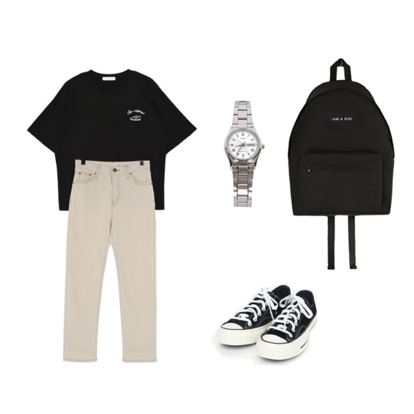 AIN coloring canvas sneakers (225-250),UPTOWN HOLIC 오트진 pants,MIXXMIX 헬라나 티셔츠등을 매치한 코디