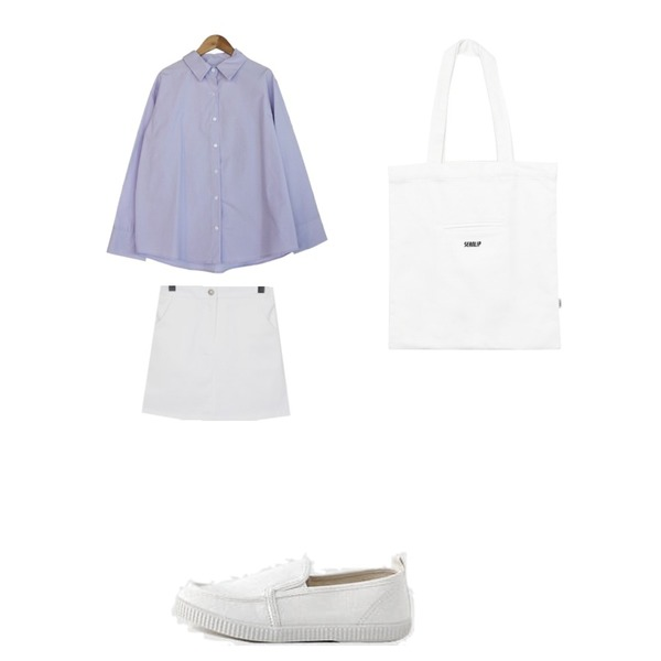 From Beginning Daily cotton mini skirt_B (size : free),about moon 어반 셔츠 - 3color,LOVELY SHOES [커플슈즈] 로키튼 슬립온 2cm등을 매치한 코디