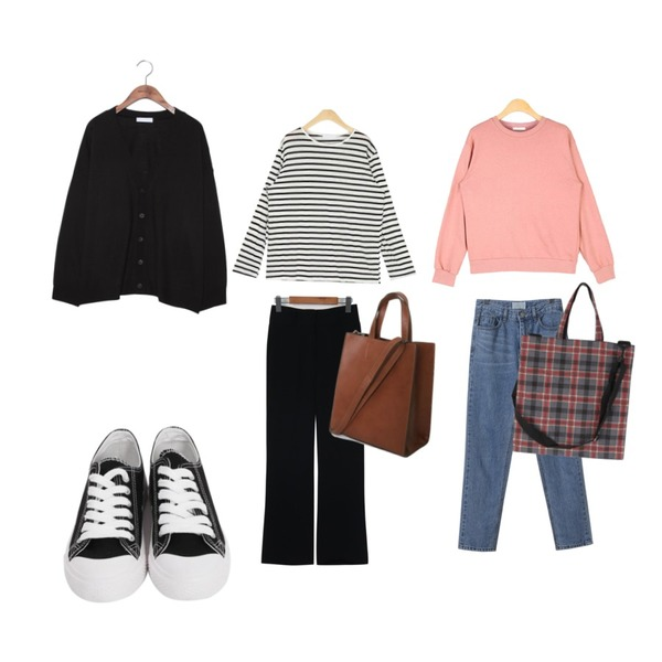 common unique [OUTER] 7 COLOR AMI V NECK KNIT CARDIGAN,AIN different casual mtm,AIN rolly linen stripe T등을 매치한 코디