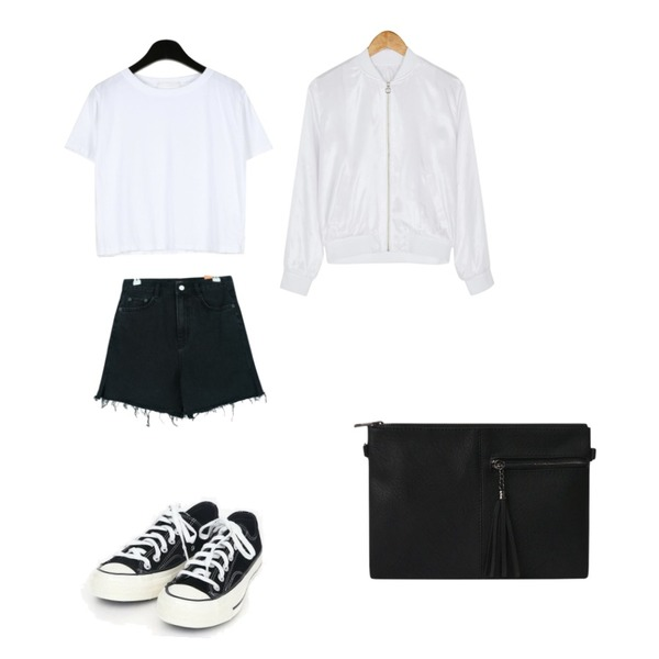 BANHARU simple gloss jumper,daily monday Visible color crop tee,GIRLS RULE 워싱 슬릿 숏 데님 (pt1418)등을 매치한 코디