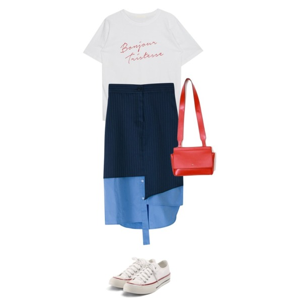 ROCOSIX simple coton sneakers,BANHARU unique unbalance banding skirt,MIXXMIX Bonjure Lettering Top등을 매치한 코디
