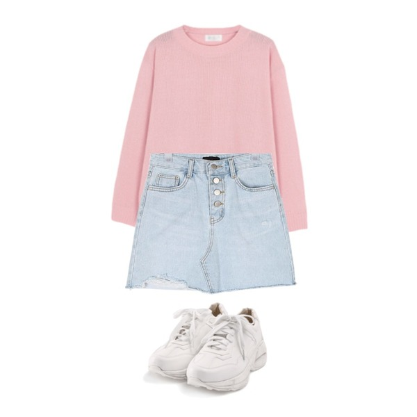LINDA GIRLS 프레도 라운드 니트 (6color),ROCOSIX active basic sneakers,AIN button cutting mini skirt (s-xl)등을 매치한 코디