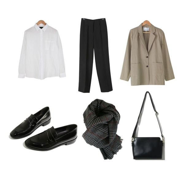 daily monday Classy mood long slacks,BANHARU simply loose fit jacket,BULLANG GIRL 데일리베이직포켓NB♥남여공용♥등을 매치한 코디