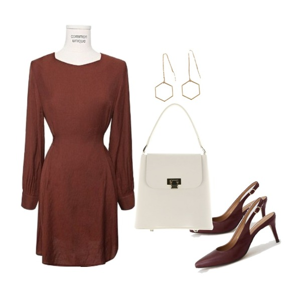 common unique [OPS] LINE DIAMOND NECK FLARE OPS,LOVELY SHOES [천연소가죽] 헤란츠 스틸레토 슬링백 힐 7cm등을 매치한 코디