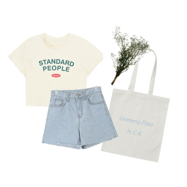 white flower,From Beginning Pastel lettering cotton bag_H (size : one),MIXXMIX 피플 크롭 탑등을 매치한 코디