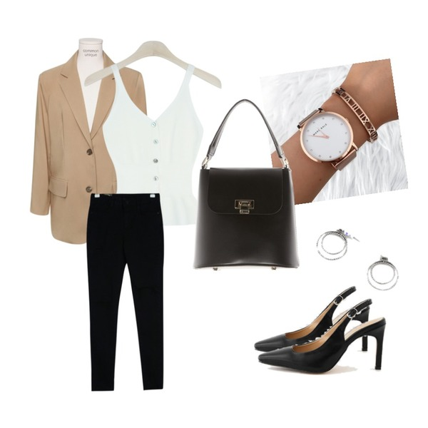 watch,common unique [OUTER] MANNISH SET-UP TAILORED JACKET,GIRLS RULE 골지 단추 나시 탑 (t5157)등을 매치한 코디