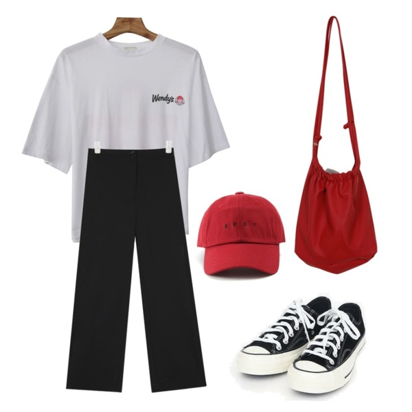 AIN coloring canvas sneakers (225-250),AIN side zipper track pants,Zemma World Wendys-프린팅티셔츠등을 매치한 코디