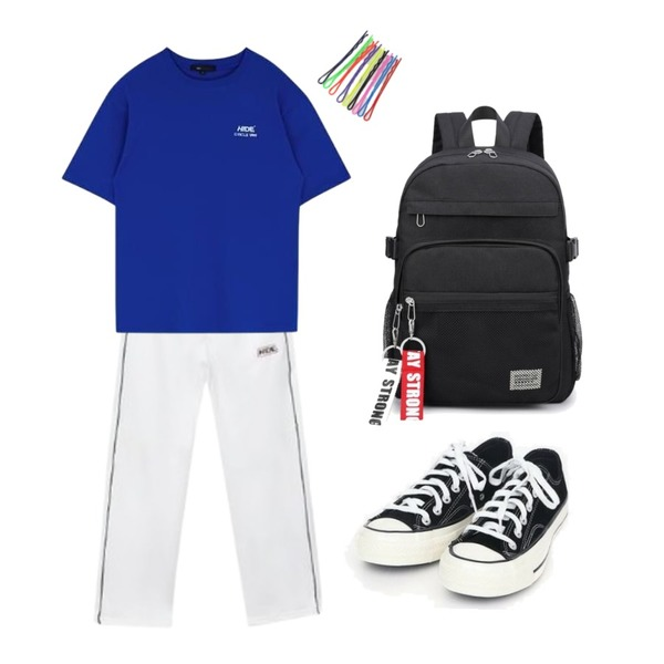 MIXXMIX HIDE MTV Overfit T-Shirt,MIXXMIX Piping Track Pants,AIN coloring canvas sneakers (225-250)등을 매치한 코디