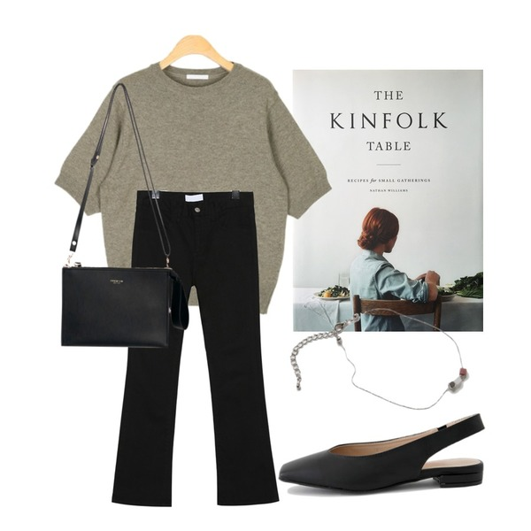 kinfolk table,common unique [BOTTOM] HIGH TENSION SEMI BOOTS PANTS,AIN any ronud wool knit등을 매치한 코디