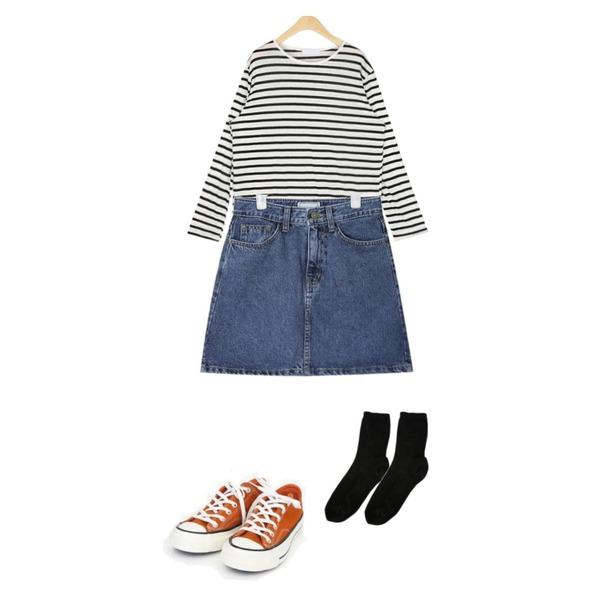 AIN day A-line denim skirt (s, m, l),AIN coloring canvas sneakers (225-250),AIN rolly linen stripe T등을 매치한 코디