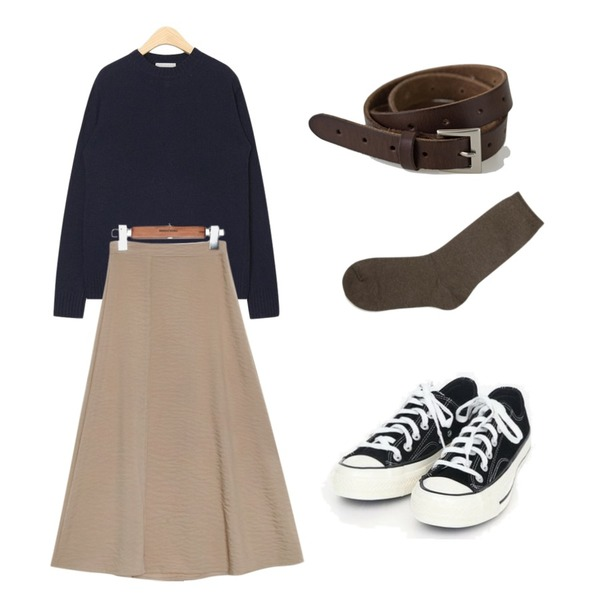 AIN baby wool round knit,BANHARU [real lether] basic square belt,common unique [SKIRT] RAYON SLIT FLARE LONG SKIRT등을 매치한 코디