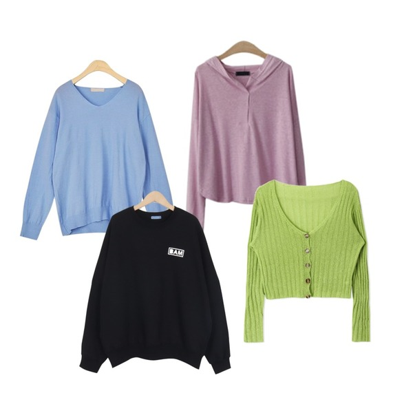 AIN mio v-neck knit,From Beginning Over Bam cotton mtm_M (size : free),ENVYLOOK [22XX]린넨후드티등을 매치한 코디