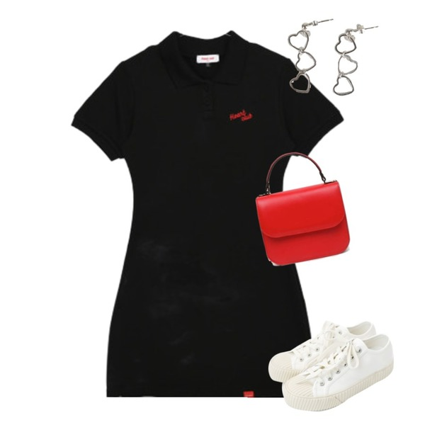AIN lady polished  two way bag,daily monday Simple every day sneakers,MIXXMIX Heart Collar Logo Point Dress등을 매치한 코디