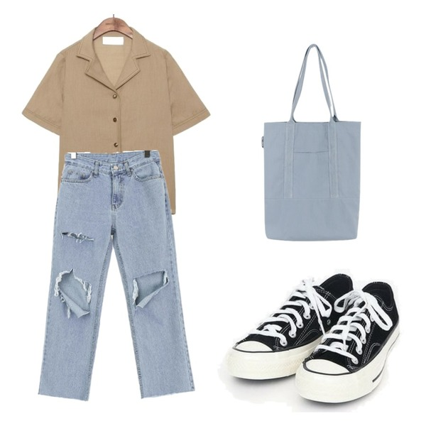 daily monday Daily pocket eco bag,common unique [TOP] LINEN STITCH COLLAR BLOUSE,AIN coloring canvas sneakers (225-250)등을 매치한 코디