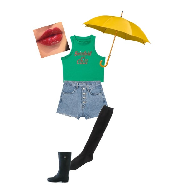 ROCOSIX devil over knee socks,openthedoor seinfeld crop sleeveless (4 color),MIXXMIX 996 지그재그 숏 팬츠등을 매치한 코디