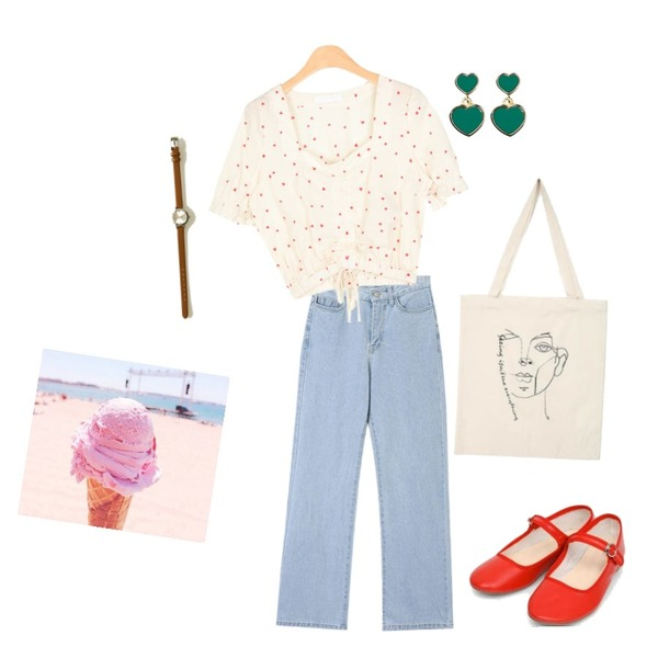 ice cream,AIN heart shaker crop blouse,AIN youse semi boots denim pants (s, m)등을 매치한 코디