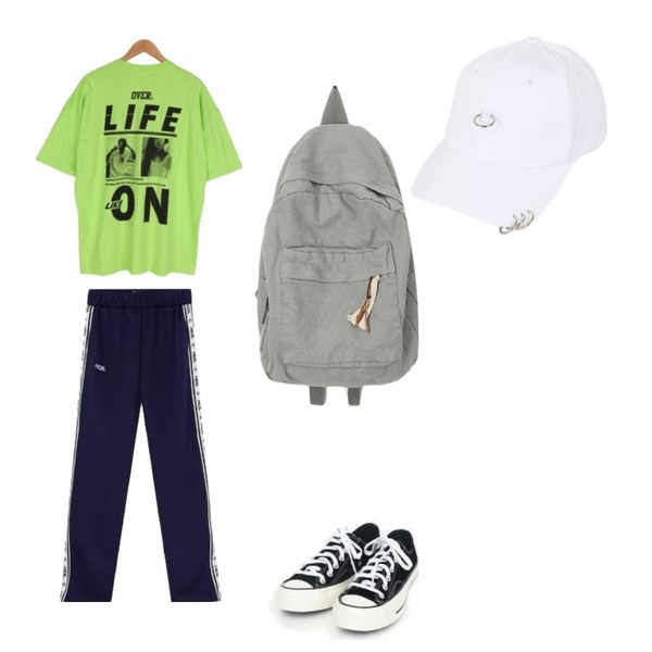 MIXXMIX Logo Track Pants,AIN coloring canvas sneakers (225-250),BULLANG GIRL 라이프라이크반팔T♥남녀공용♥등을 매치한 코디
