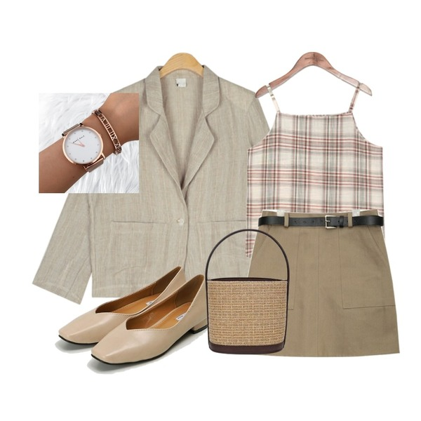 AIN out pocket half-banding skirt (2 colors),common unique [TOP] RETRO THIN CHECK SLEEVELESS,AIN with check linen jacket등을 매치한 코디