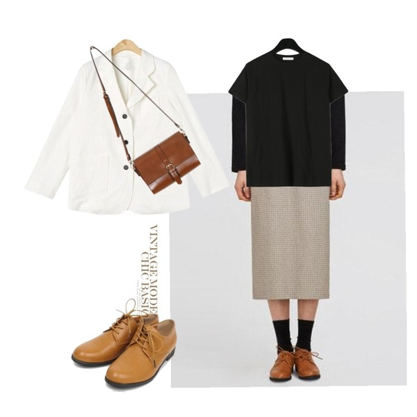 AIN buckle cross bag (4 colors),AIN road check skirt,AIN from moment linen jacket등을 매치한 코디