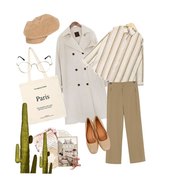common unique [OUTER] CLASSIC CHIC TRENCH COAT,From Beginning Summer cool slacks (hidden banding)_B (size : S,M,L)[블랙 16일 입고예정],AIN village stripe shirts등을 매치한 코디