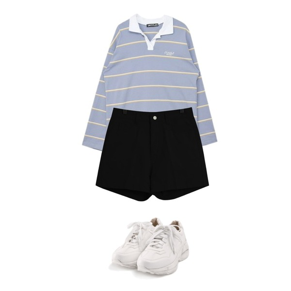 ROCOSIX active basic sneakers,MIXXMIX Long Stripe Collar Top,TODAY ME 핀디 숏츠등을 매치한 코디