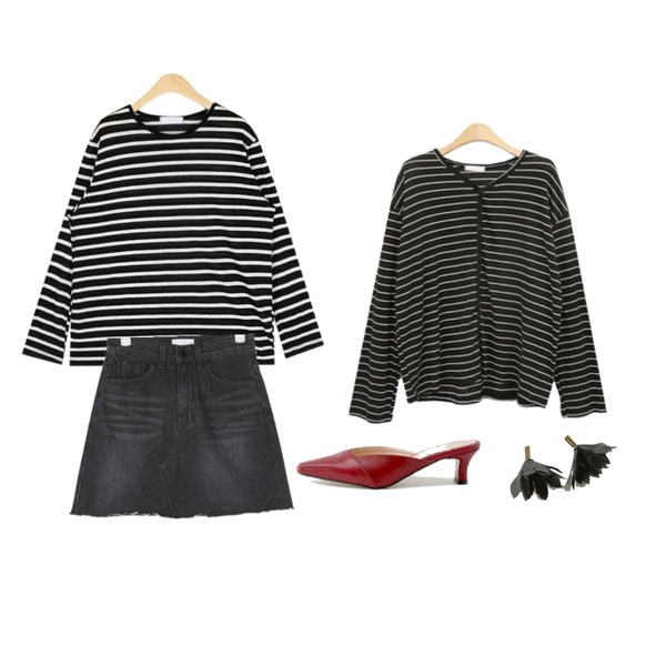 BLINGIT 스트라이프가디건,AIN mento black denim skirt (s, m),AIN rolly linen stripe T등을 매치한 코디