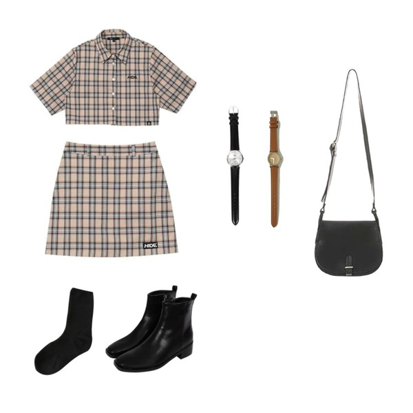 biznshoe Square toe ankle boots,MIXXMIX Check Crop Set,MIXXMIX Check Crop Set등을 매치한 코디