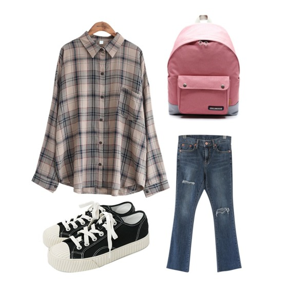 daily monday Simple every day sneakers,common unique [TOP] VINTAGE CHECK POCKET SHIRTSWITH CELEBRITY _ 지수(블랙핑크) 착용,JCOMMA 파인 데님 팬츠등을 매치한 코디