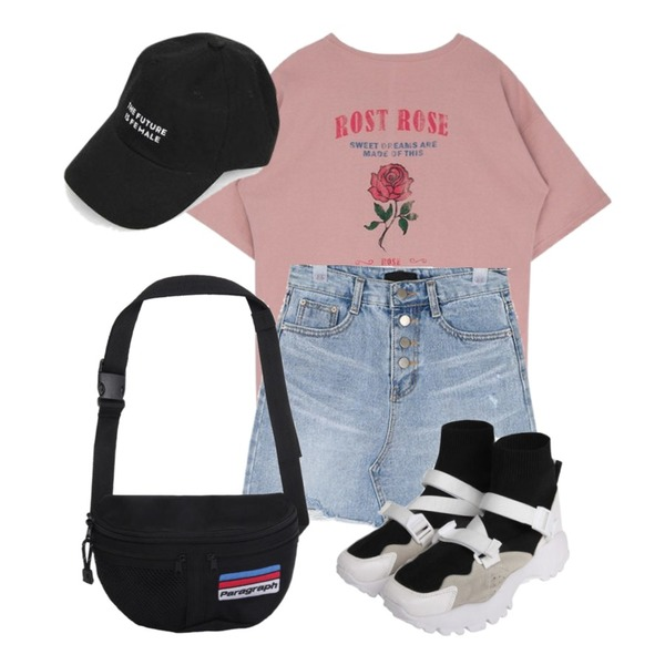 MIXXMIX Rost Rose Top,openthedoor high neck buckle sneakers (2 color),AIN button cutting mini skirt (s-xl)등을 매치한 코디