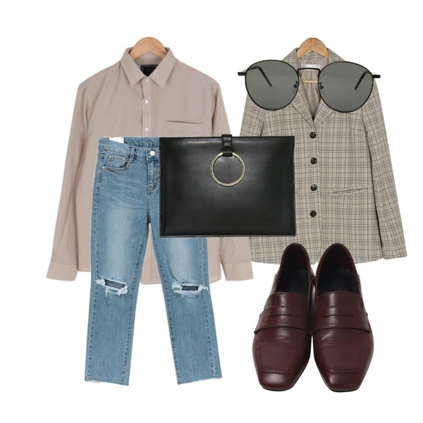 BANHARU 4-button check jacket,From Beginning Hyaline metal sunglass_S (size : one),From Beginning Regular simple penny loafer_S (size : 230,235,240,245,250)등을 매치한 코디