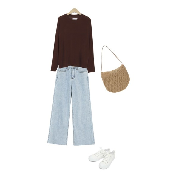 AIN basic monday sneakers (230-250),ROCOSIX 필링 일자 데님 팬츠,From Beginning Thin rayon color T_H (size : free)등을 매치한 코디