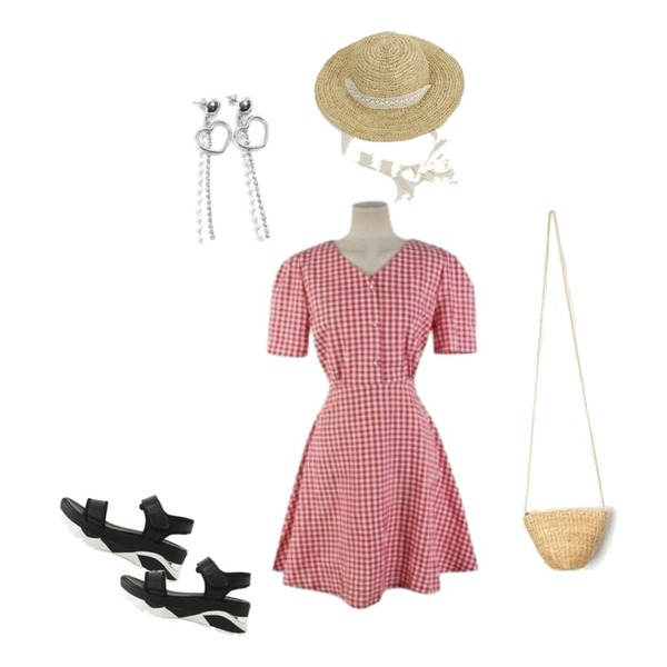 Cats Onepiece 빨간 체크원피스,From Beginning Summer lace raffia hat_K (size : one),LOVELY SHOES 루딘 벨크로 샌들 5.5cm등을 매치한 코디