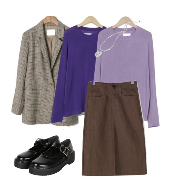 ENVYLOOK [22XX]단추트임체크자켓,From Beginning Thin rayon color T_H (size : free),From Beginning Thin rayon color T_H (size : free)등을 매치한 코디