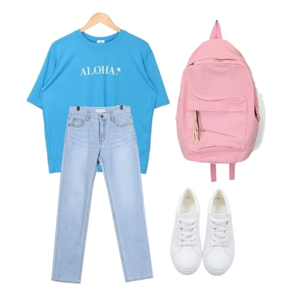 NEW NEED NOW 포인트 스니커즈(3color),VICTORIA GARCONNE 헬로 레터링티셔츠,AIN crayon diverse backpack등을 매치한 코디