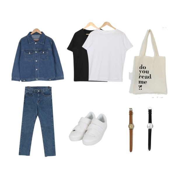 BULLANG GIRL 사랑을원해데님JK(당일출고),From Beginning Simple cutting denim pants_K (size : S,M,L),VICTORIA GARCONNE 일상 브이넥티셔츠등을 매치한 코디
