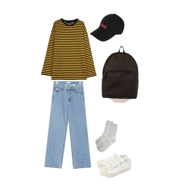 AIN supple washing denim pants (s, m, l),daily monday Simple every day sneakers,GIRLS RULE 믹스 컬러 단가라 티셔츠 (t5150)등을 매치한 코디