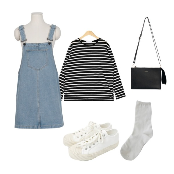daily monday Simple every day sneakers,From Beginning Minimal cotton overall ops_B (size : free),AIN rolly linen stripe T등을 매치한 코디