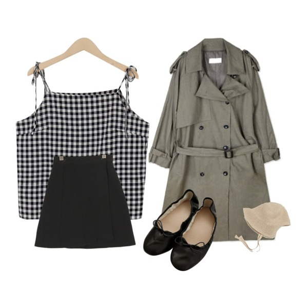 From Beginning Ribbon strap check sleeveless_H (size : free),somedayif tweed lap mini skirt (2colors),openthedoor epaulet double trench coat (2 color)등을 매치한 코디